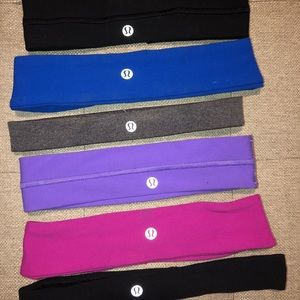 6 LULULEMON HEADBANDS - all in great condition